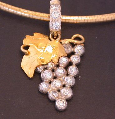 Custom Made Hand Fabricated Diamond & Gold Grape Cluster Pendant