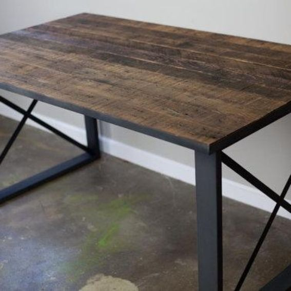 Hand Made Modern Industrial Dining Table Desk Reclaimed Wood Top Steel Base