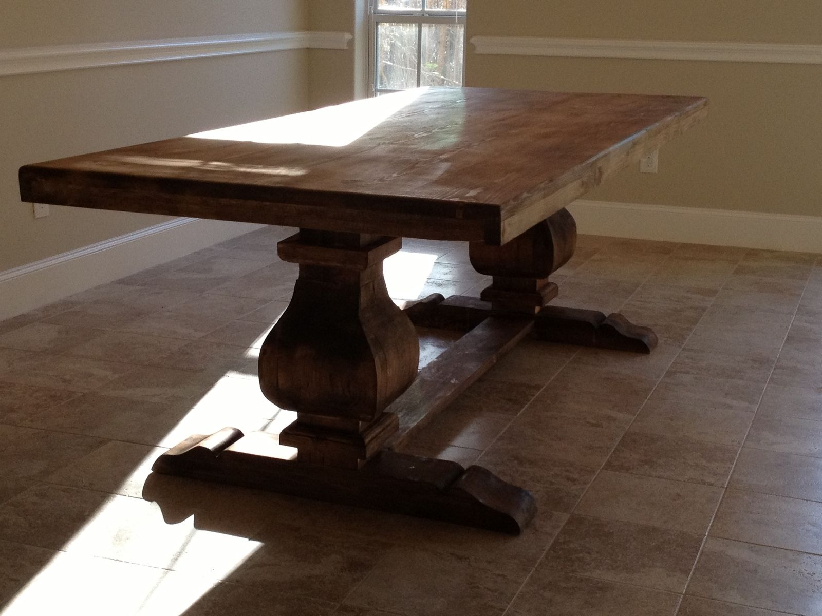 Custom 7ft trestle table solid wood by hinojosa custom for Unique wood kitchen tables