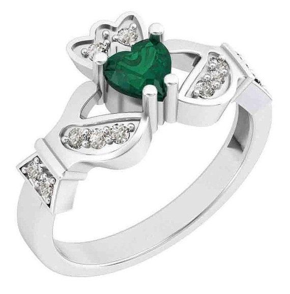 Green Diamond Claddagh Ring