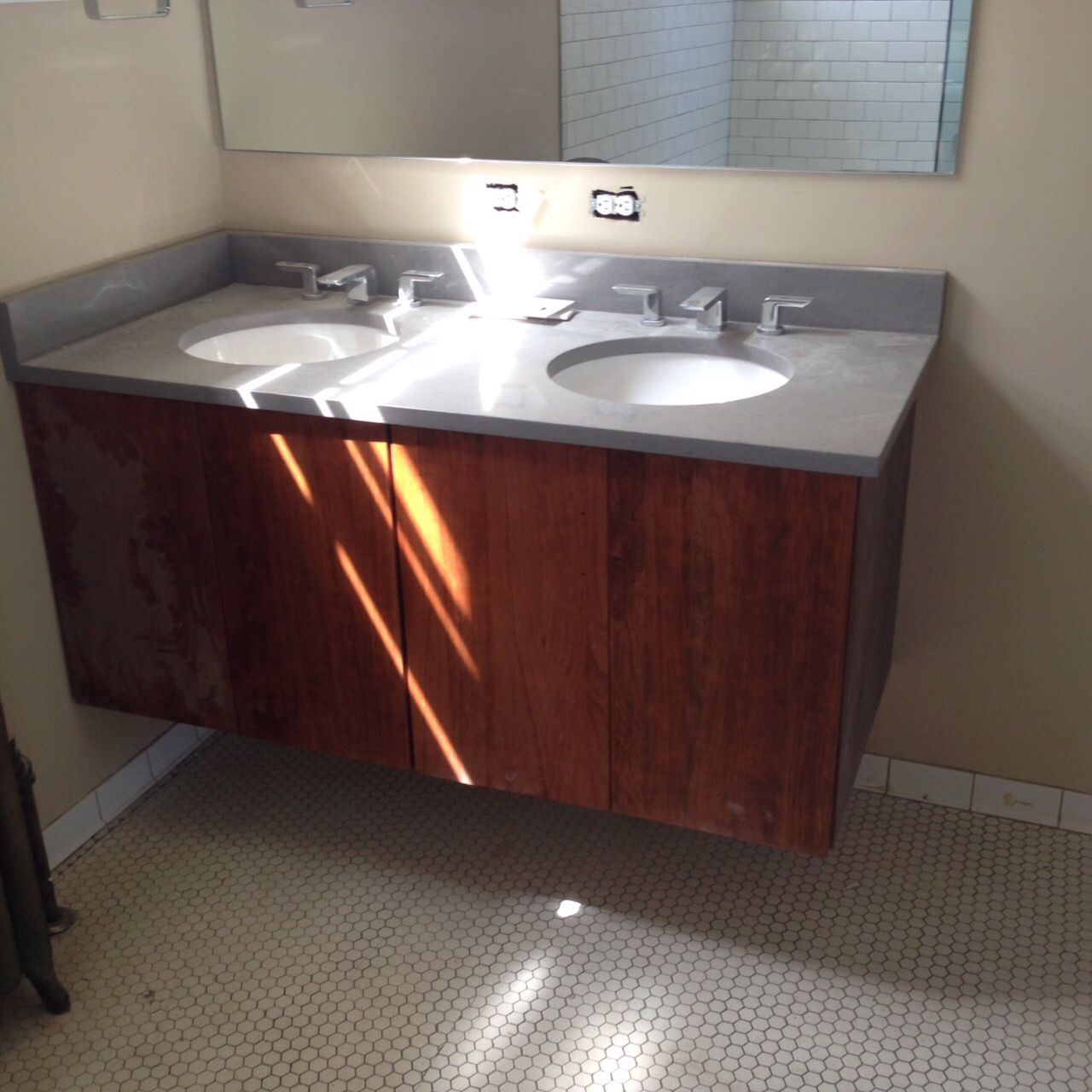 Handmade double sink floating cherry vanity by the plane edge llc for Custom double sink bathroom vanity
