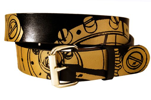 Custom Made Gears And Cogs Leather Belt