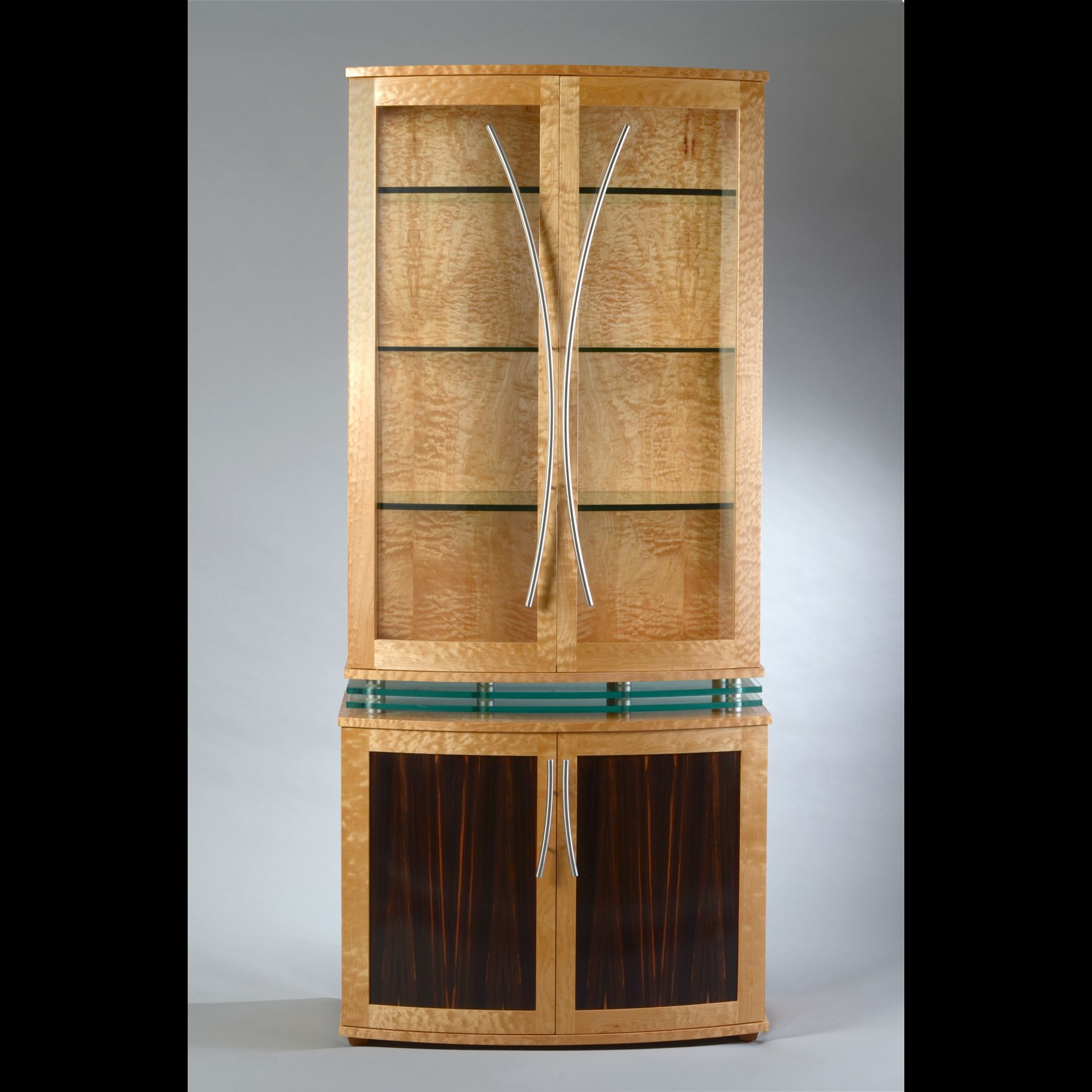 Custom made modern display cabinet china cabinet in quilted maple levitating cabinet by - Custom display cabinets ...