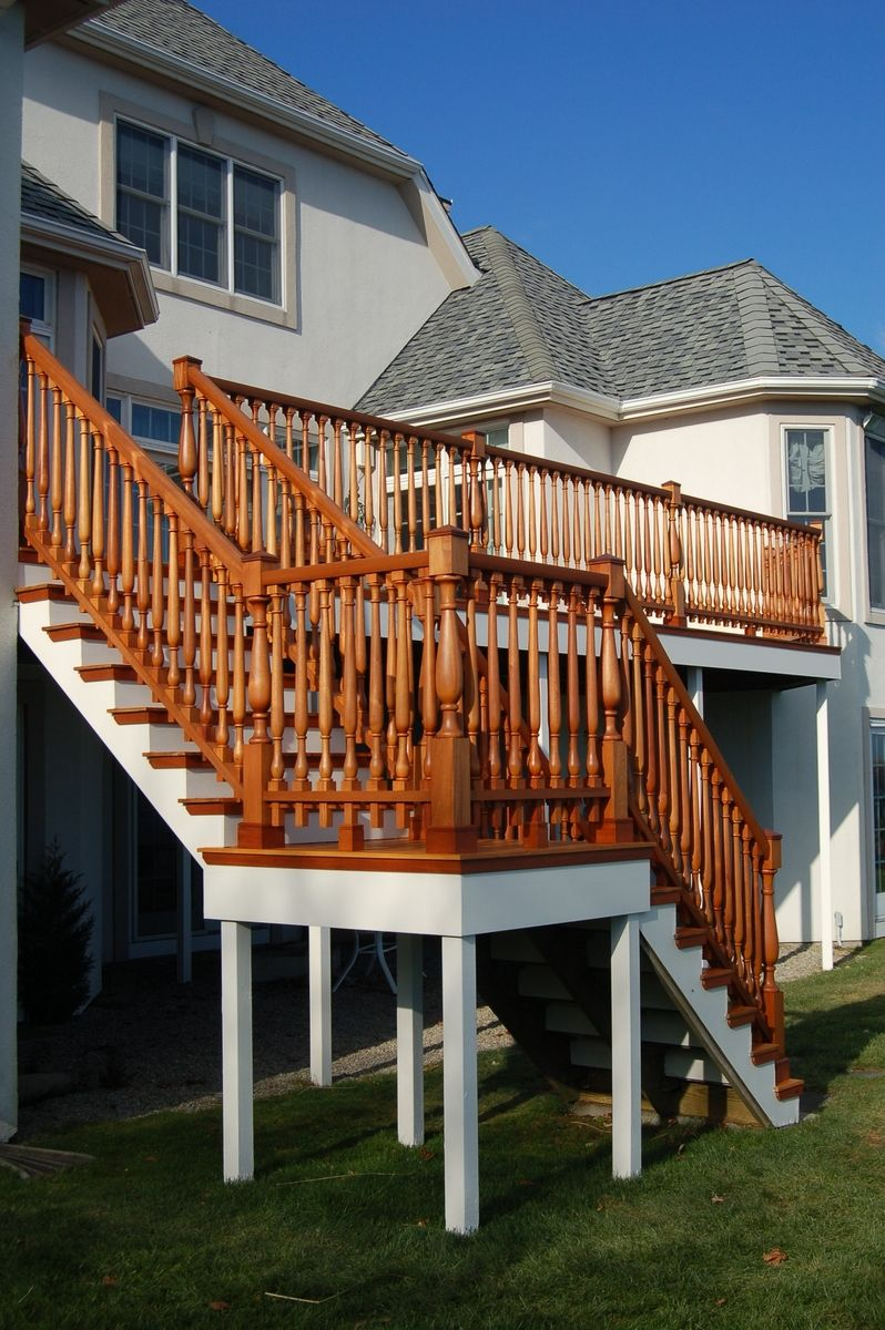 Hand made custom mahogany mortise and tenon deck railing for Deck stairs pictures