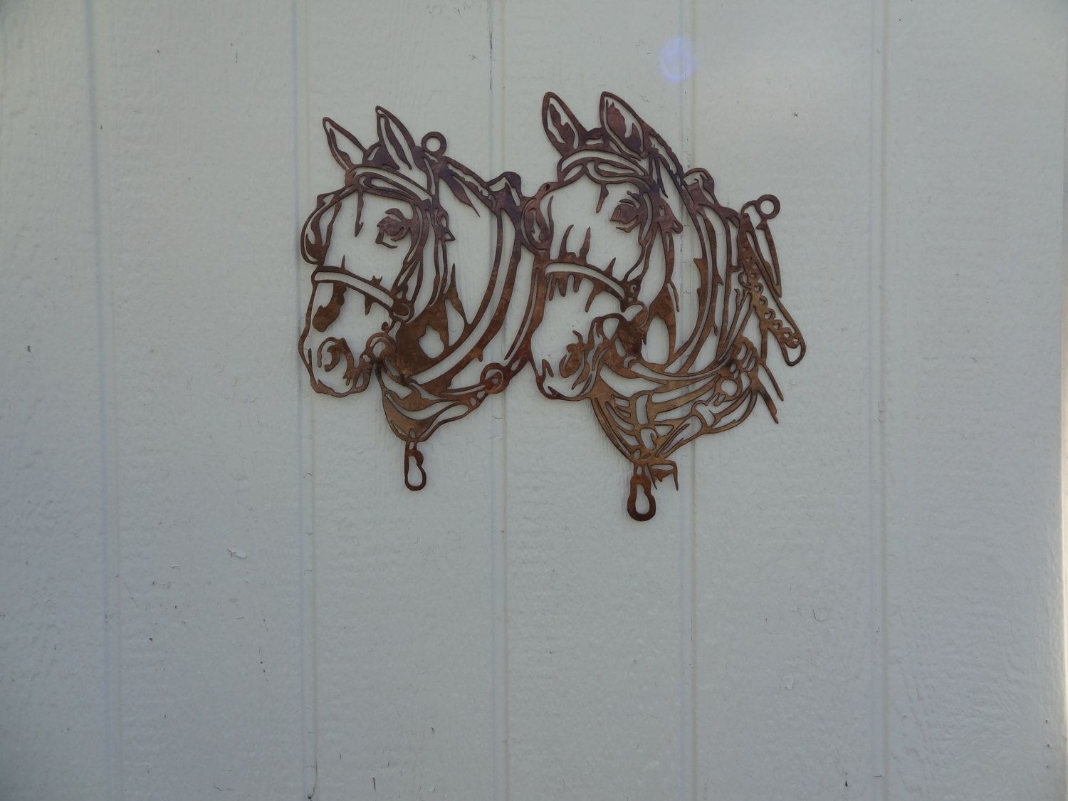 Buy a hand crafted draft horse head metal wall art country for Custom wall art