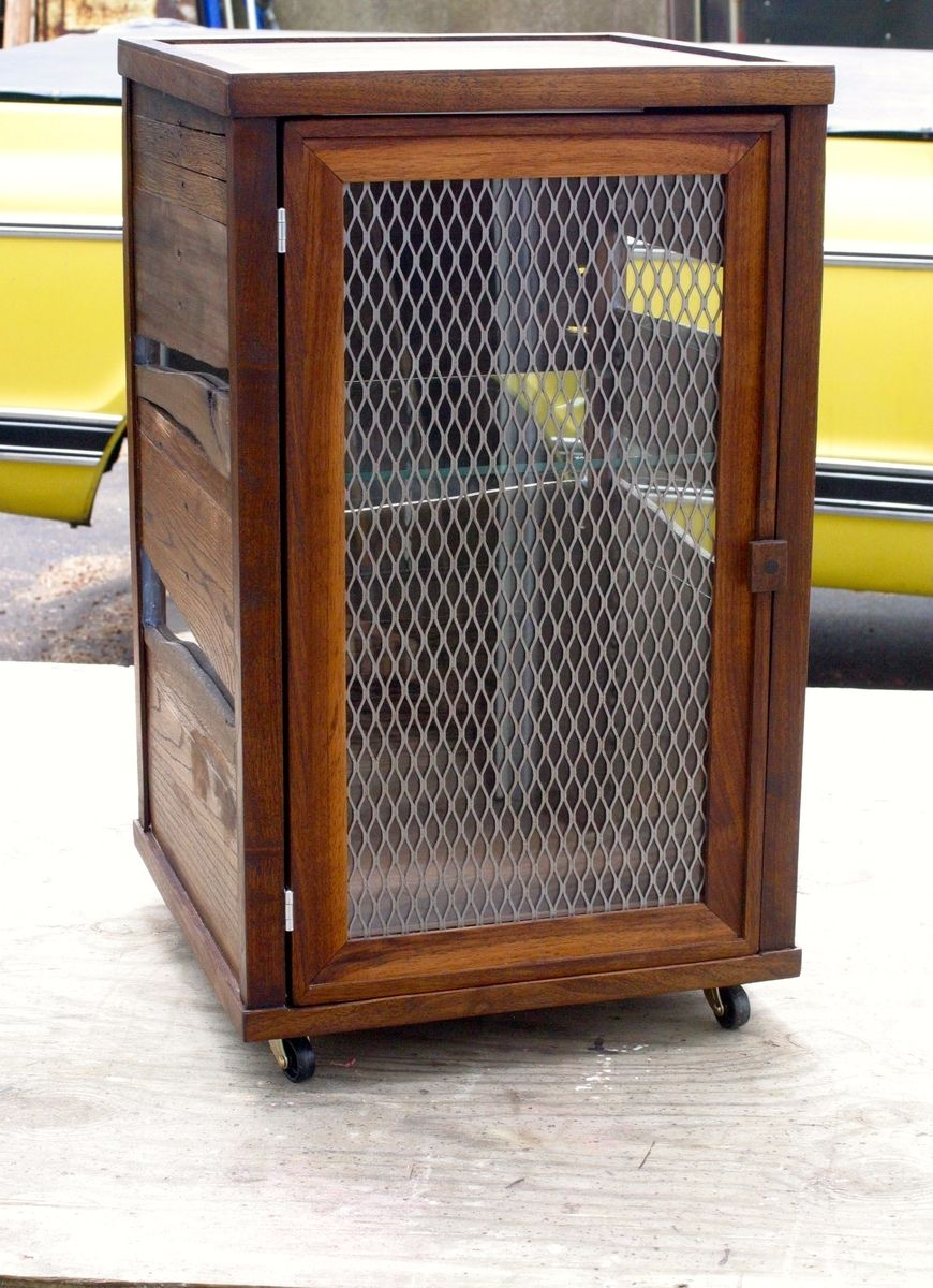 Hand crafted custom scotch display cabinet in reclaimed pallet wood and walnut by tim sway - Custom made cabinet ...