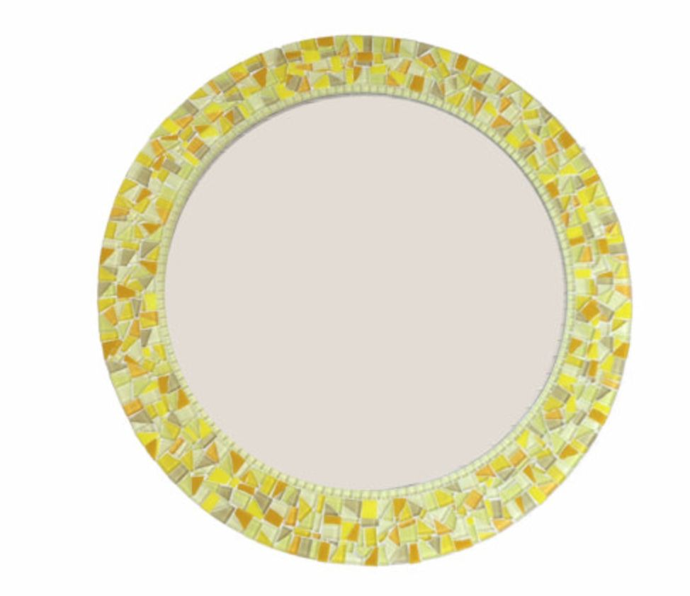 Buy a custom round yellow mosaic mirror made to order for Custom made mirrors