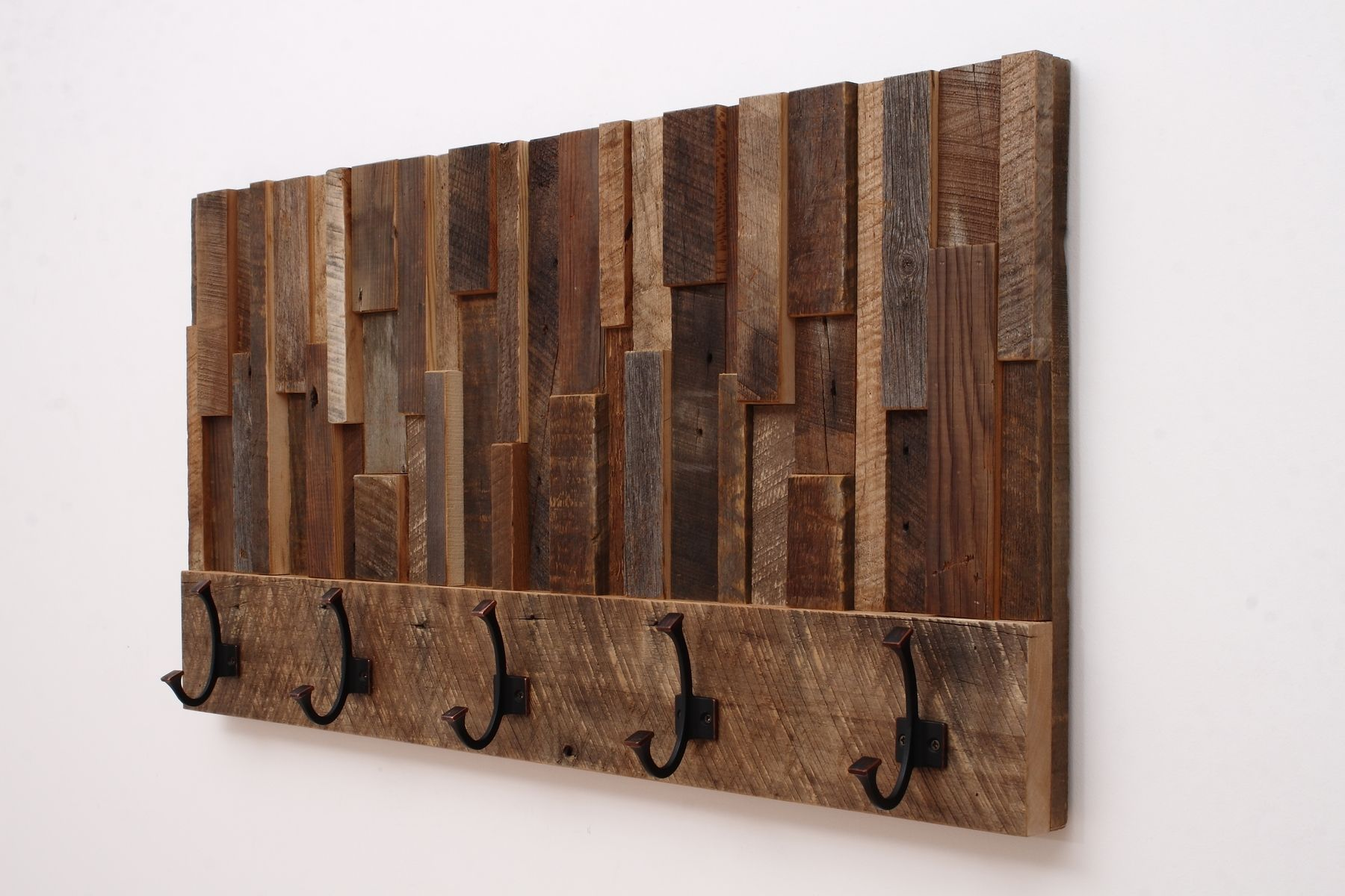 Custom Made Reclaimed Wood Art Coat Rack 36x18 5x4 By