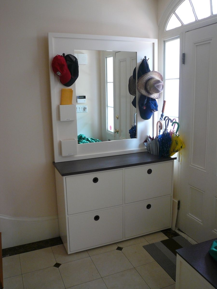 Contemporary Foyer Cabinets : Custom made contemporary entryway storage cabinet by
