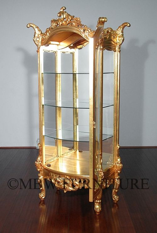 Hand Crafted 7ft Tall Solid Mahogany Gold French Curio