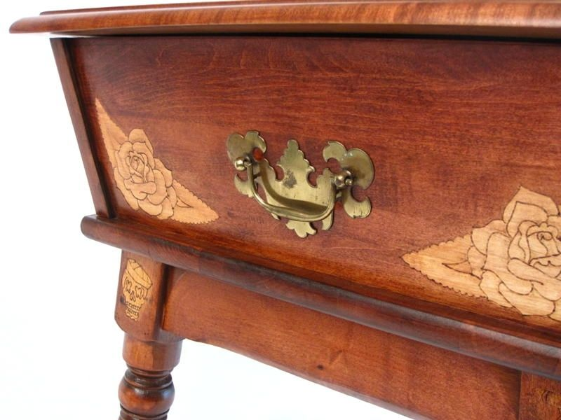Hand Made Old World Map End Table By San Diego Custom Wood