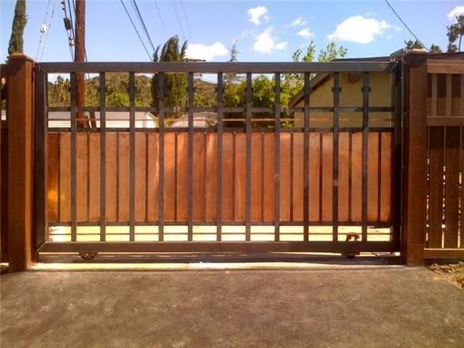 Custom made large metal driveway gate with copper by jacob for Aluminum driveway gates prices