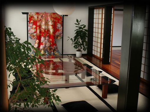 Custom Made Japanese Tables And Media Cabinet With Obi And Kimono Stands