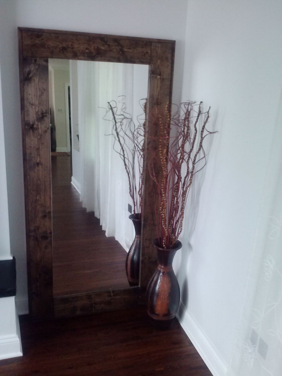 Hand crafted large floor mirror reclaimed wood mirror for Long stand up mirror