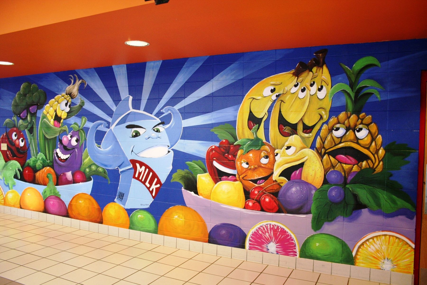 Hand made elementary lunch room wall murals by patricks for Elementary school mural ideas