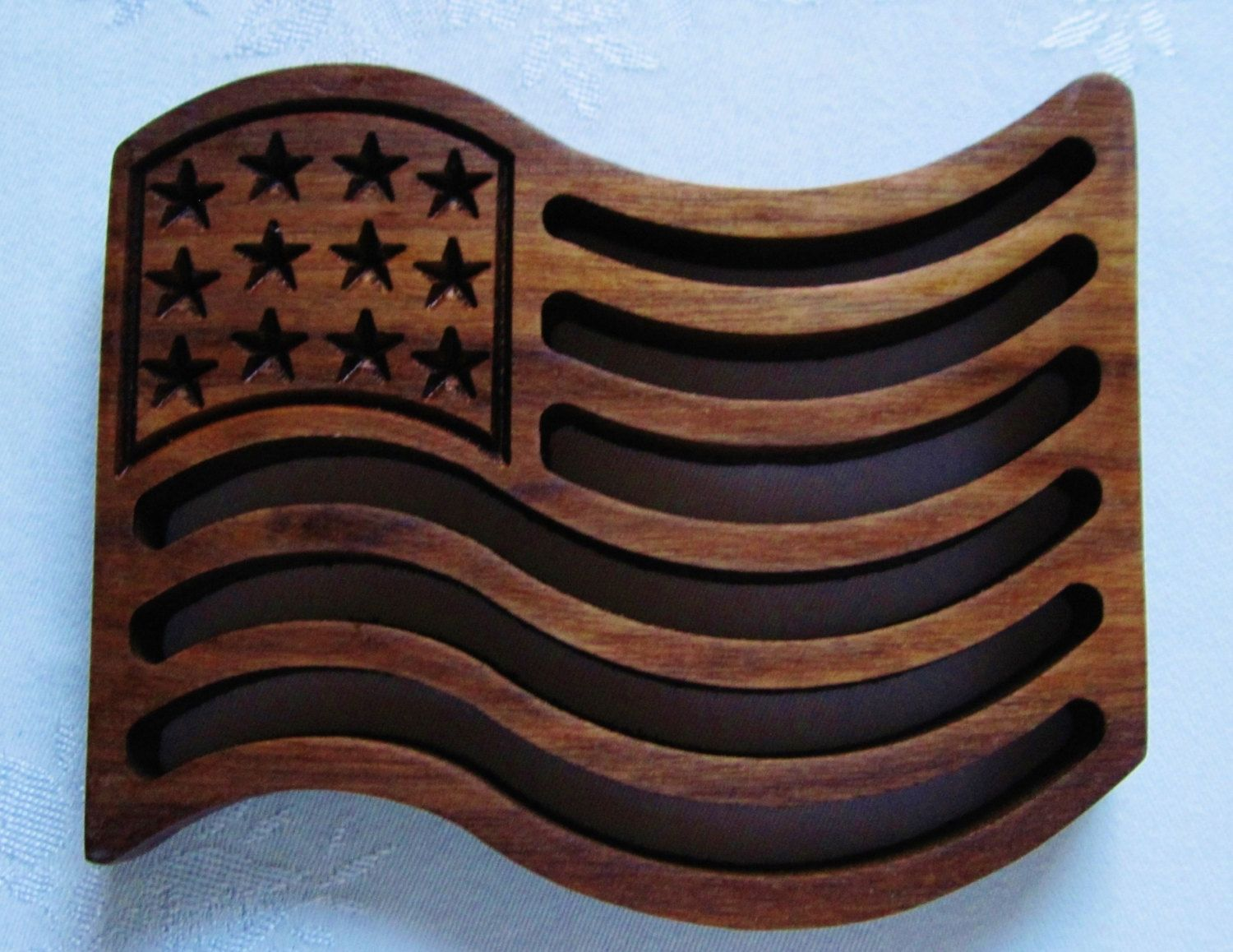 Hand Made Patriotic American Flag Handcrafted Carved