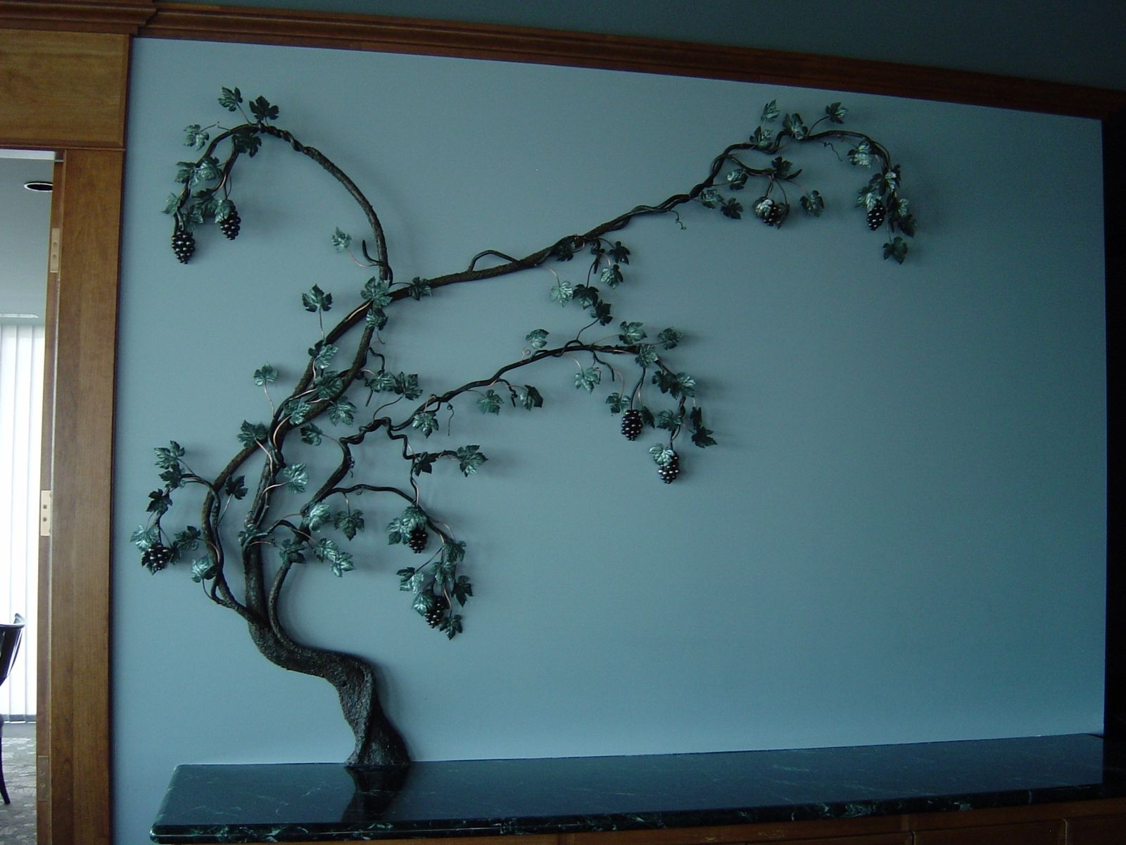 Hand Crafted Steel Grape Vine Wall Sculpture By