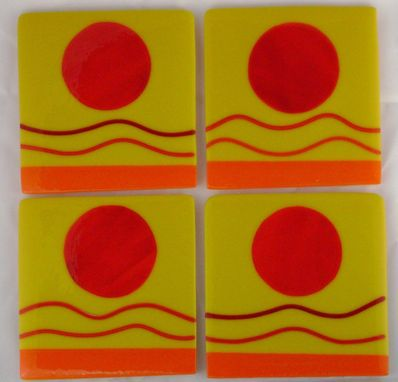 Custom Made Fused Glass Sunny Coaster Set