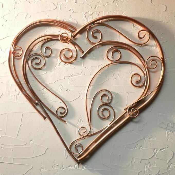 Hand Made Contemporary Copper Metal Art Abstract Heart By
