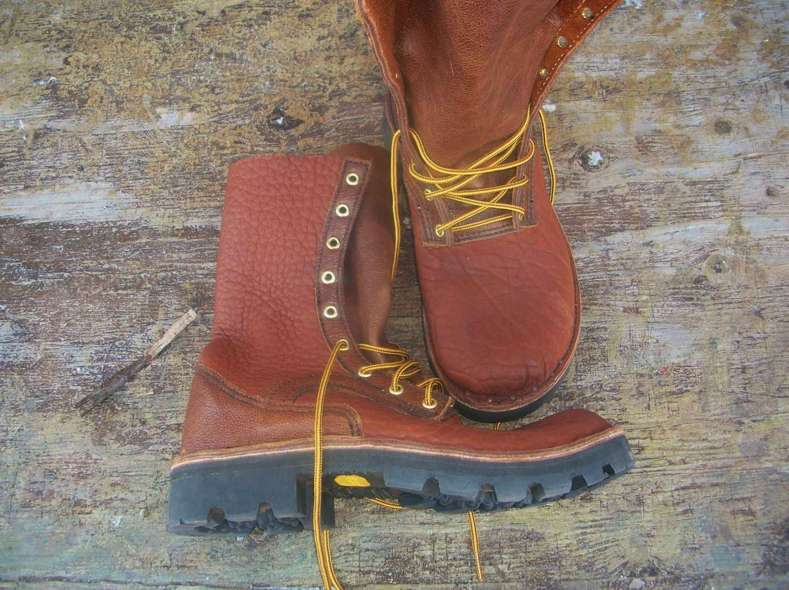 made front lace buffalo hide leather work boots by