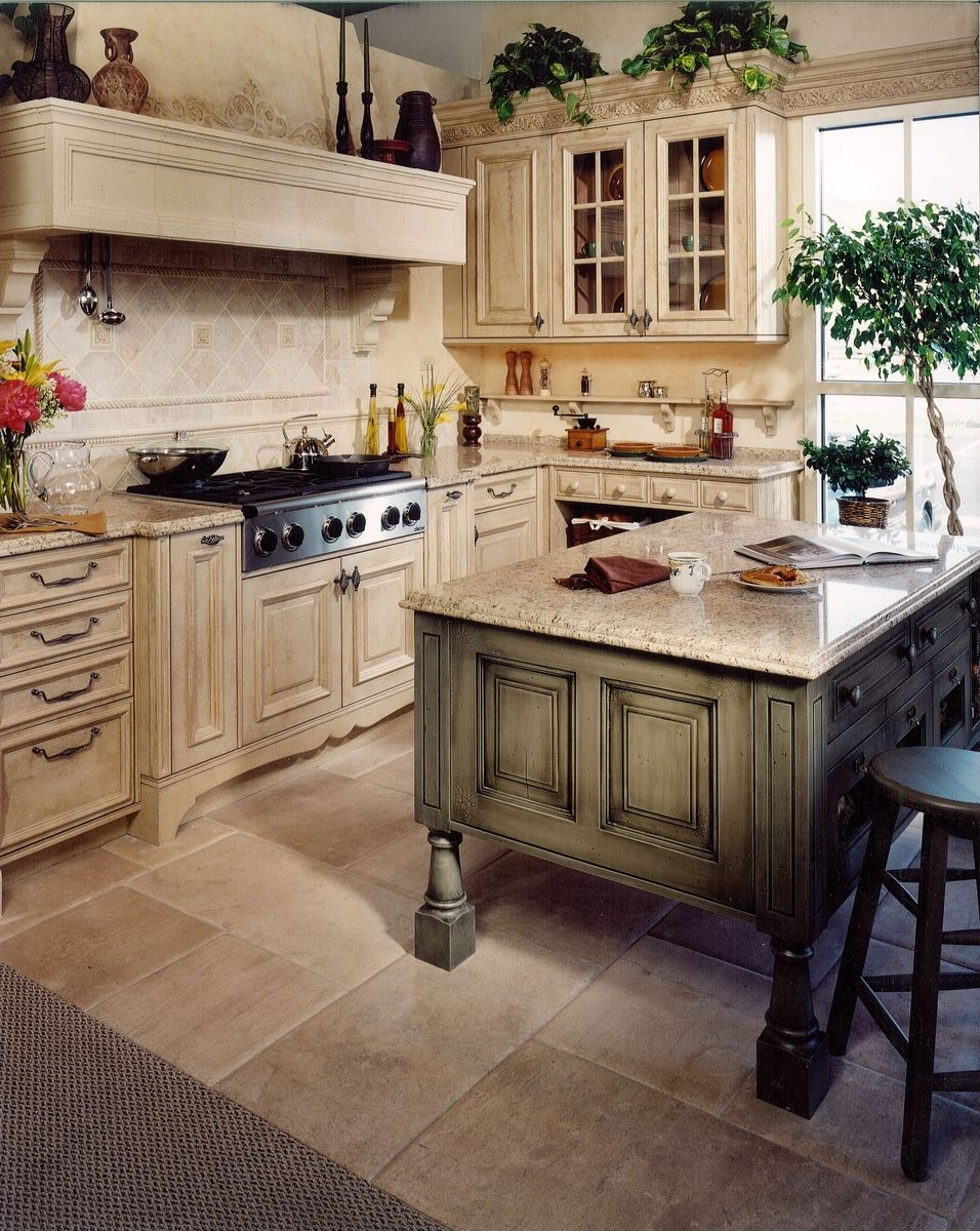 Hand made tuscany kitchen remodel by cabinets design for Country kitchen floor ideas