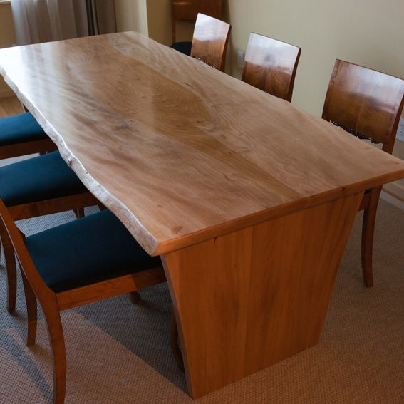Live Edge Kitchen Table: Hand Made Live Edge American Sycamore Dining Table By