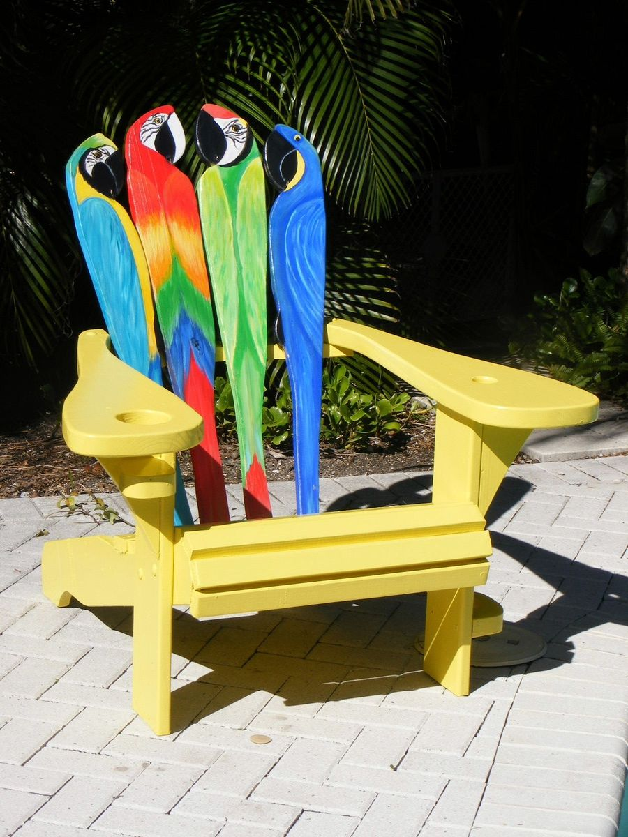 Custom Adirondack Chair Parrot Design By Island Time