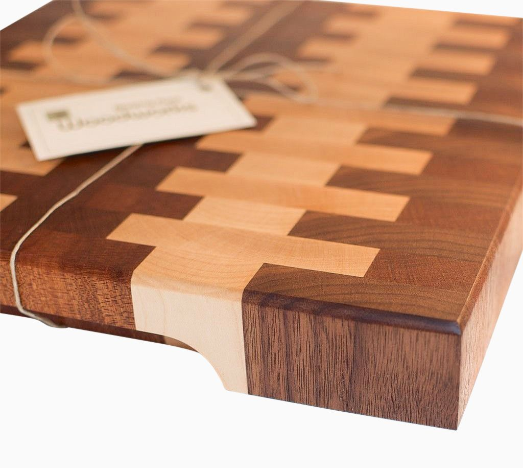 Hand Made Walnut And Maple End Grain Cutting Board By