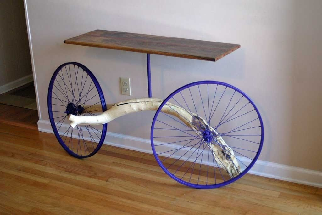 Hand crafted entry table made from bike wheels tree for Bicycle wheel table