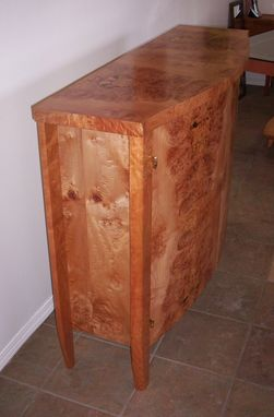 Custom Made Burled Maple & Curly Cherry Cabinet