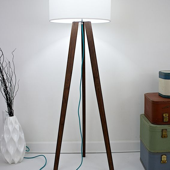 Hand Crafted Midcentury Inspired Solid Walnut Tripod Floor