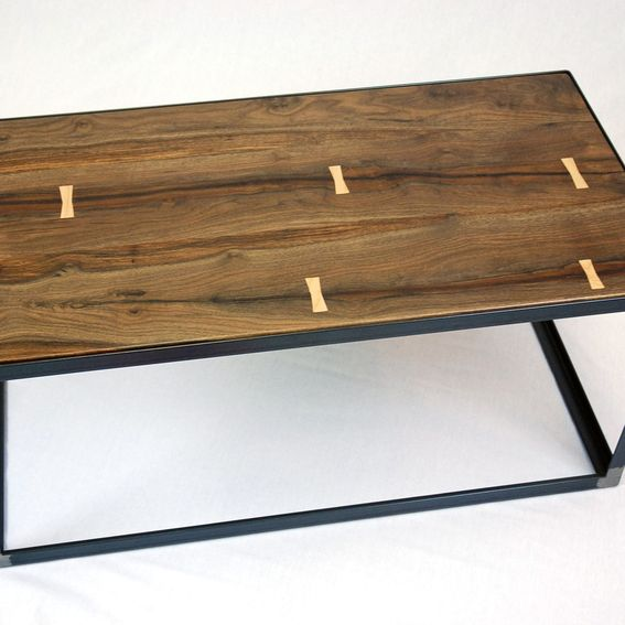 Deon Industrial Style Pattern Metal Rectangle Coffee Table: Hand Crafted Salvaged Black Walnut Industrial Coffee Table
