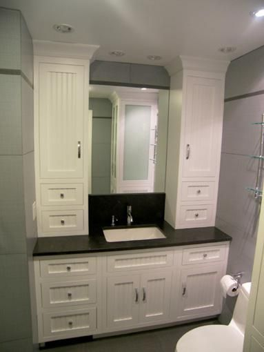 hand made bathroom vanity and linen cabinet by edko cabinets llc