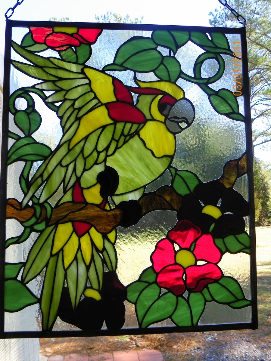 Handmade Stained Glass Parrot By Glass By Grammy