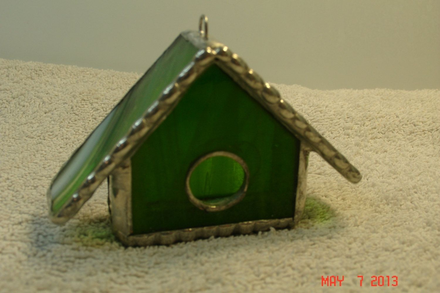 Bright Green House Empty Nest Bird House Ornament In Bright Green With White And Green