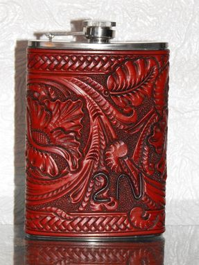 Custom Made Carved Leather Flask