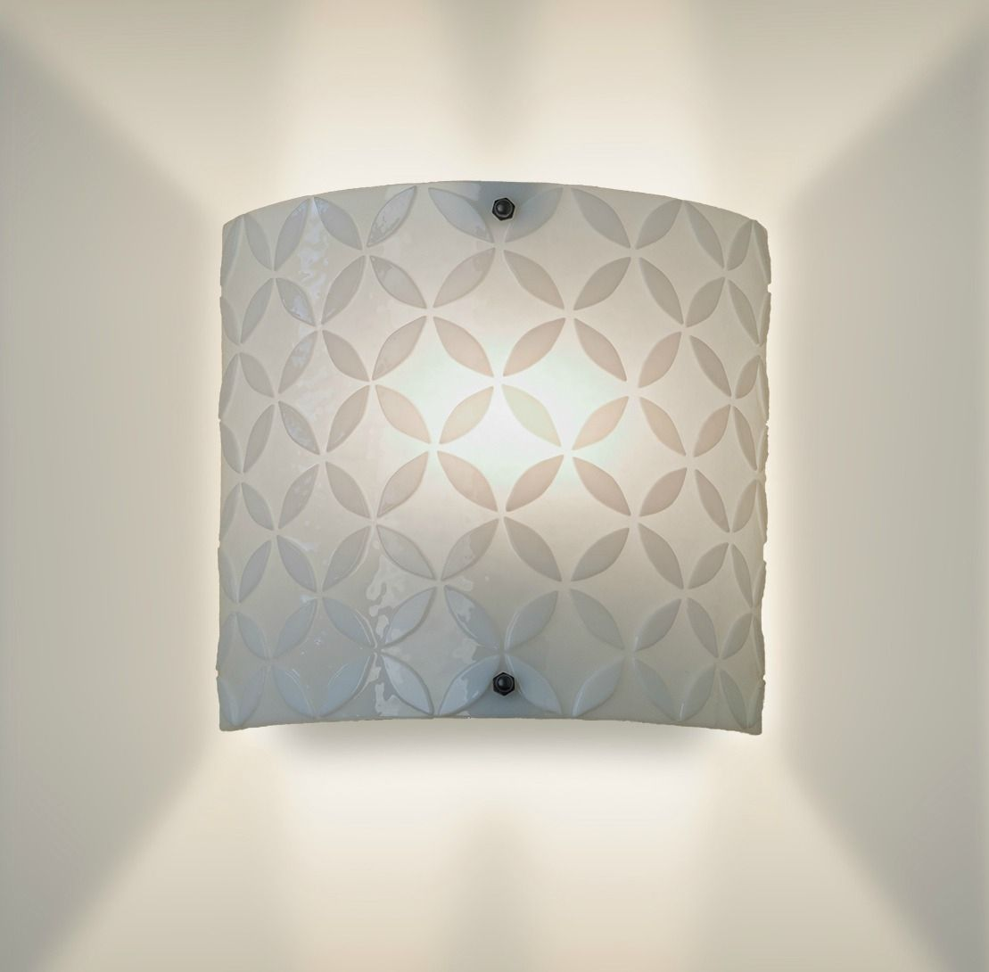 Handmade Glass Wall Sconces : Custom Made Modern White Glass Wall Sconce by grayc glass CustomMade.com