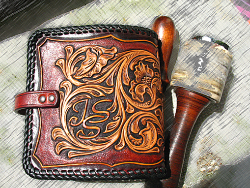 Custom Made Hand Tooled Carved Handmade Vegetable Tanned