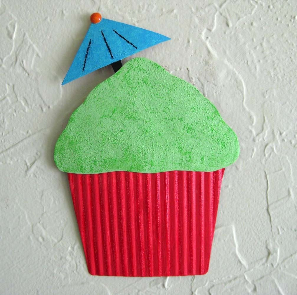 Hand crafted handmade upcycled metal tropical lime cupcake for Cupcake wall art