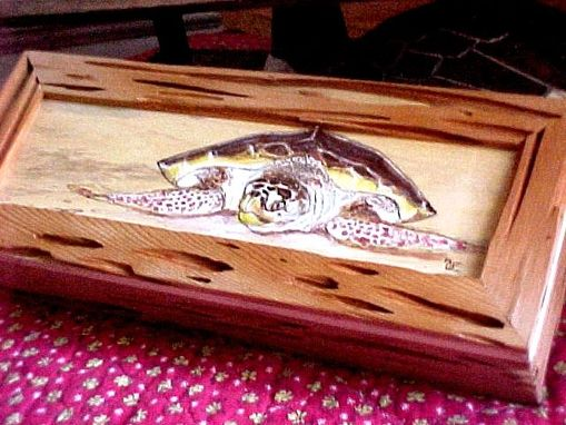 Custom Made Sea Turtle On Pecky Cypress Custom Box