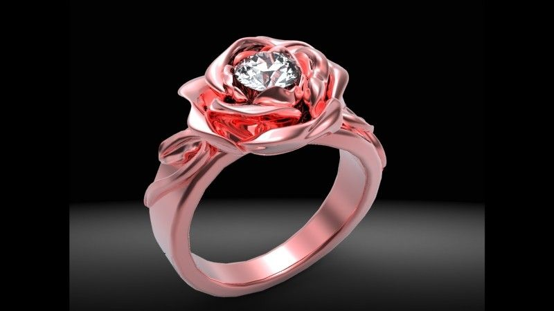 Buy a Custom Red Rose Diamond Engagement Ring, made to ...