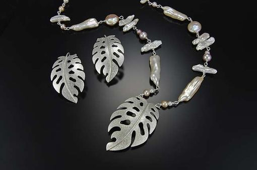 Custom Made Monstera Leaf Set With Pearl Jumble Necklace