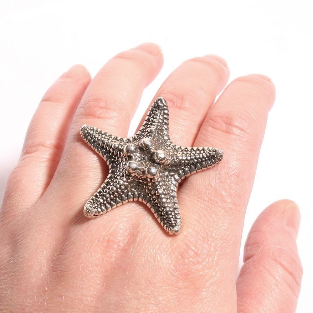 crafted knobby starfish ring in sterling silver by