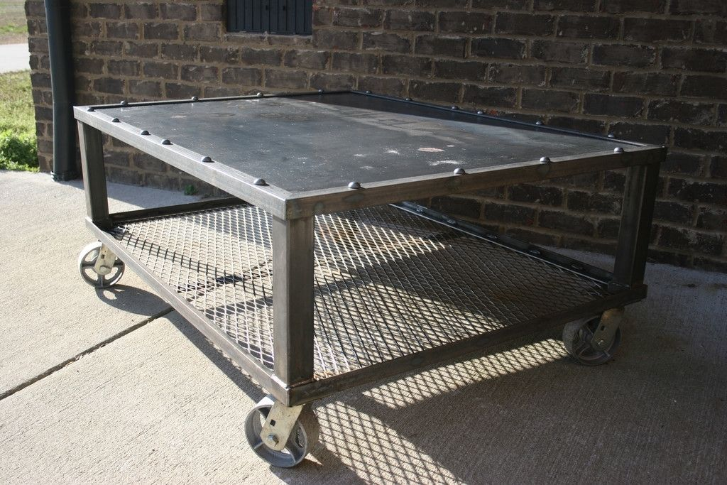Custom grid iron coffee table by epic industrial furniture for Table grid design