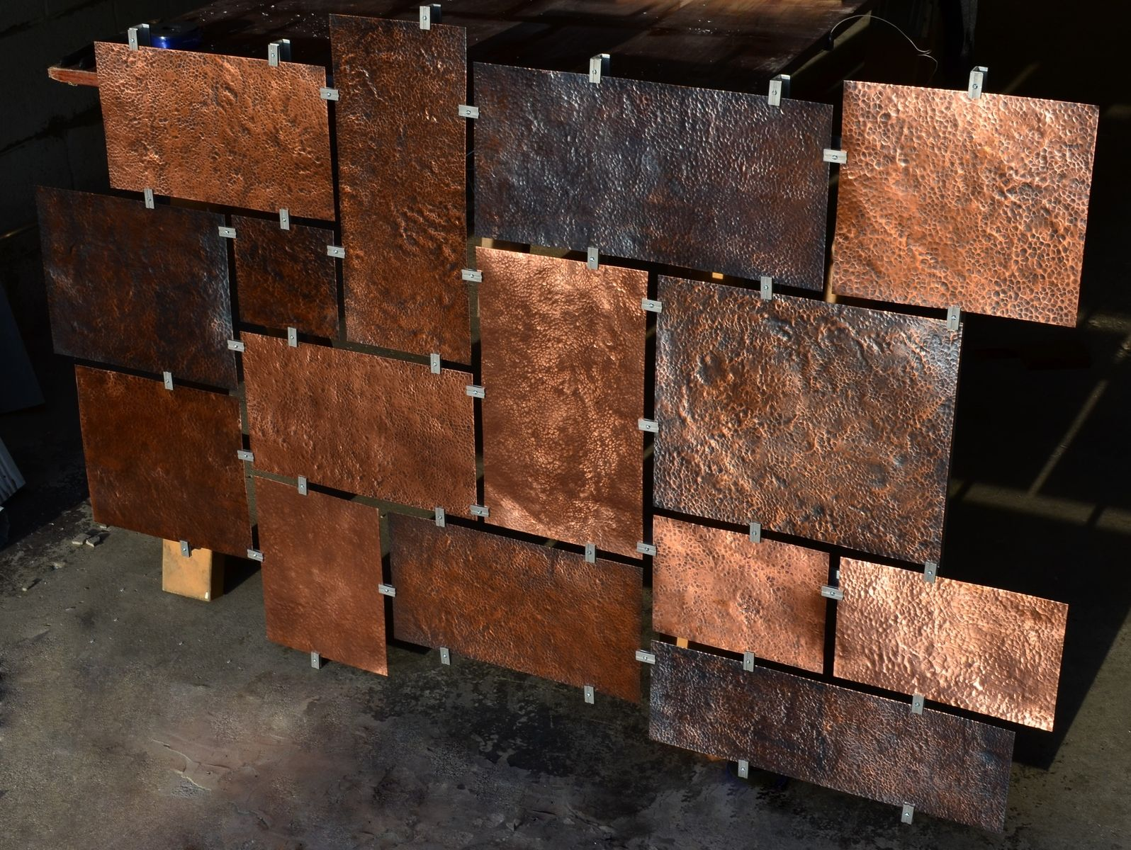 Hand made custom hammered copper wall art by fabitecture for Copper wall art