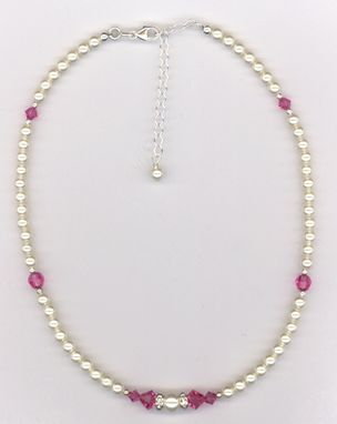 Custom Made Custom Jr. Bridesmaid Swarovski Crystal Pearl Necklace