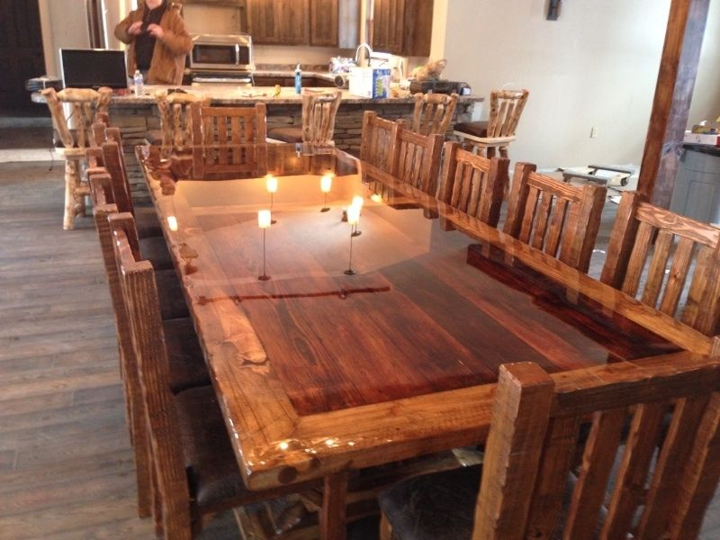 Hand made custom built reclaimed barn wood dinning room Furniture made from barn wood