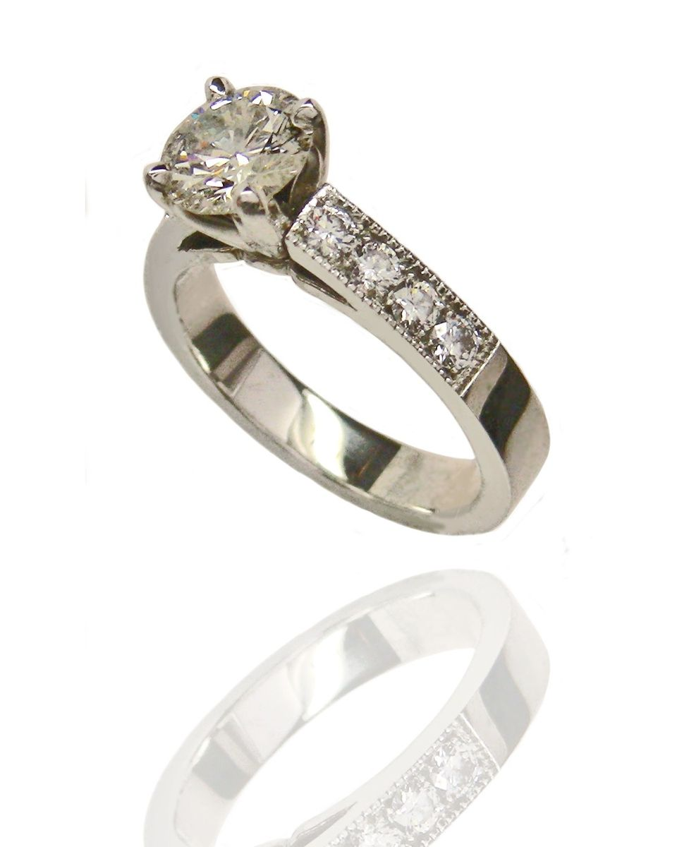 crafted 18 karat custom engagement ring by