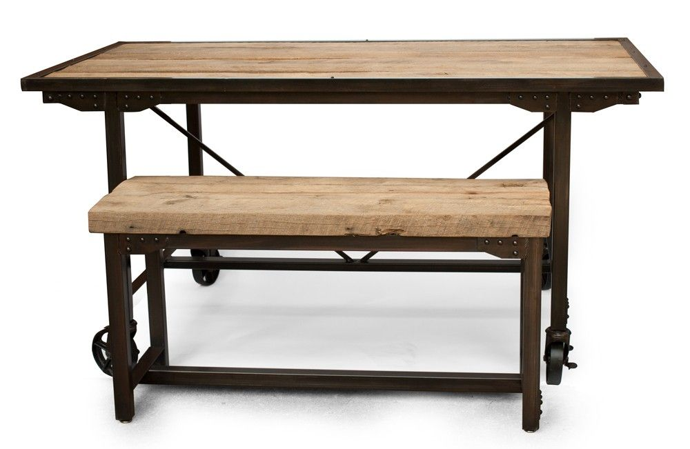 Hand Made Custom Farmhouse Reclaimed Wood Steel Dining Table Rustic Kitchen Table Bench