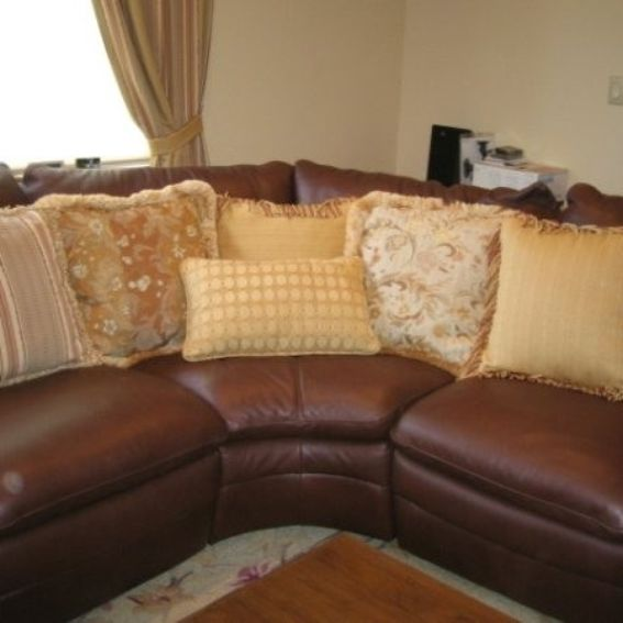 Pillows Leather Sofa: Custom Made Various Beautiful Pillows To Accent A Leather